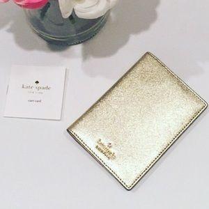 Kate Spade Gold Passport Holder Case Like New